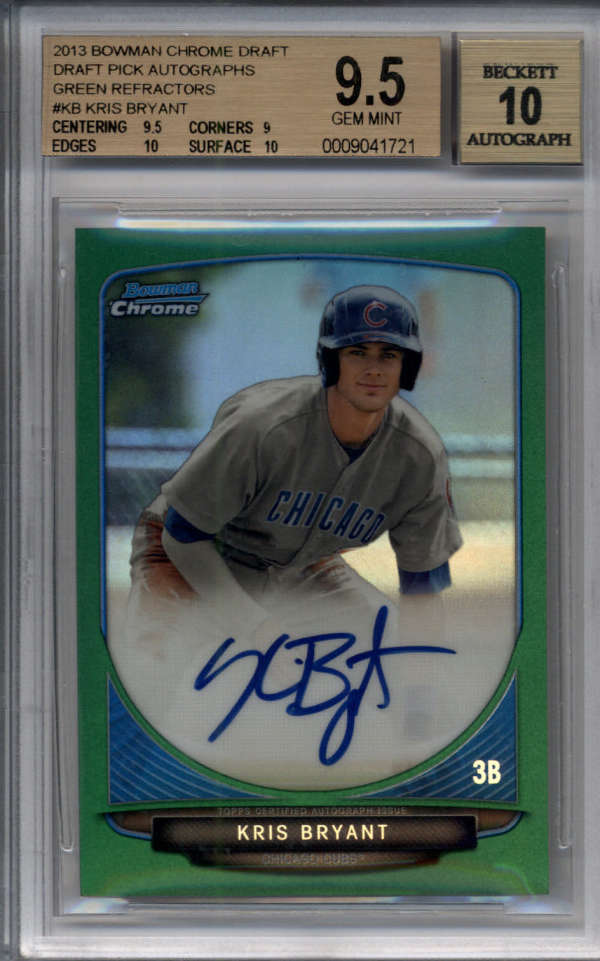 KRIS BRYANT 2013 BOWMAN CHROME GREEN REFRACTOR ROOKIE AUTO /75 BGS 9.5/10 F5630