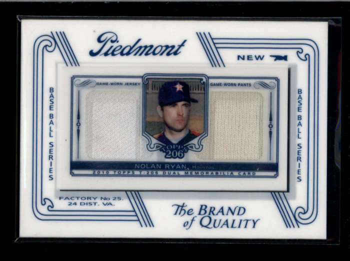 separation shoes 9dd31 f5235 NOLAN RYAN 2010 TOPPS T-206 206 PIEDMONT DUAL GAME USED ...