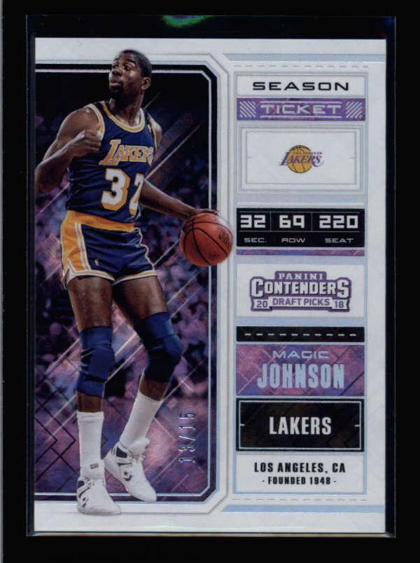 Lakers Magic Johnson Signed 2018 Contenders Draft Picks #43 Card BAS Slabbed